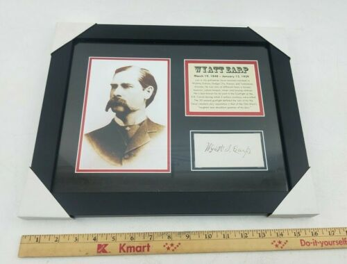 "Wyatt Earp Repligraph Signature Picture Frame Mounted Memories 13""x16"" Americana"