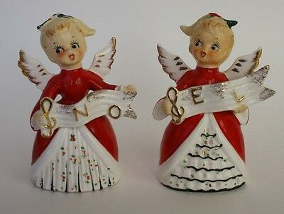 VINTAGE JAPAN CHRISTMAS NOEL ANGEL N O E L SALT PEPPER SHAKERS FIGURINES
