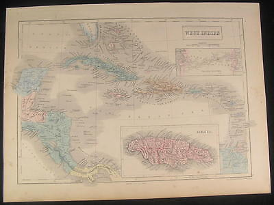 West Indies Jamaica Mosquito Gulf Panama 1853 antique engraved hand color map