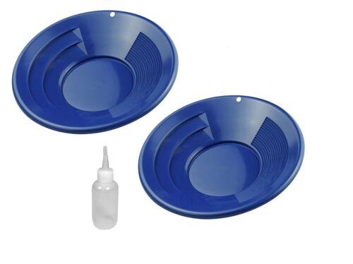 """2 Pack 8"""" Blue Gold Pan Pans Dual Riffles & Snuffer Bottle Mining Panning Kit"""