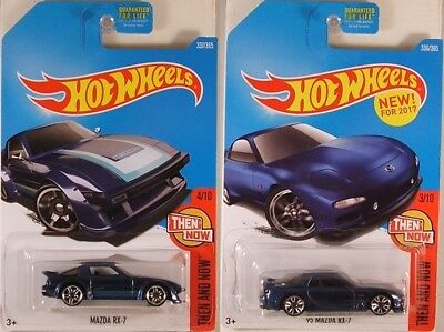 HOT WHEELS PAIR: #2017-336 + 337 'Then and Now' Mazda RX-7 '80s + '95 models