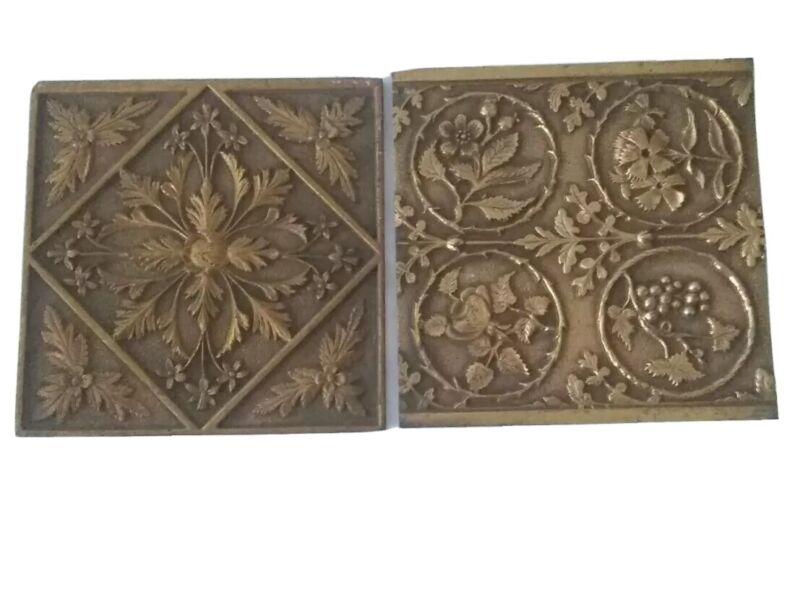Williamson Art Metal Works Antique Floral Brass Plates Tiles