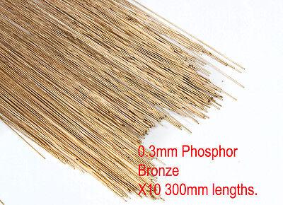 10 (Ten) pack of 0.3mm diameter phosphor bronze modellers wire. 300mm lengths.