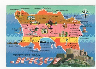 Greetings From Jersey Map Postcard 157b