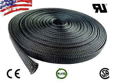 "50 FT 3/8"" Black Expandable Wire Cable Sleeving Sheathing Braided Loom Tubing US"