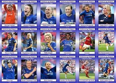 Chelsea Ladies 2018 Womens FA Cup winners football trading cards