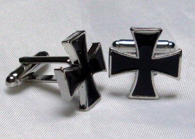 ^v^Manschettenknöpfe*Templer*LARP*medieval*Gothic*cufflinks*Lemmi*Ritter*schwarz