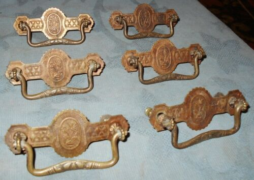 Nice Set  6  Antique Brass  Eastlake  Floral Design  Drawer Pulls