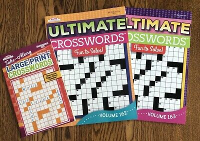 Lot 3 Large Print CROSSWORD Puzzle Books Vols.162/163 & 73. by Kappa Brand New!