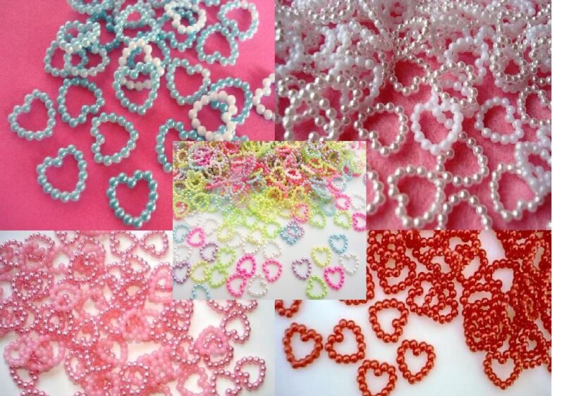 100 Mini Pearly Heart/plastic pearl/bead/wedding/Craft/Trim/Sewing/bow B72-Color