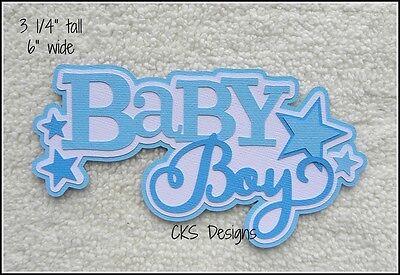 Die Cut BABY BOY Blue Title Scrapbook Embellishment Page Paper Piecing CKS -