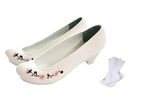 Hanbok Shoes Korea Traditional Women Dress Shoes Socks Package White Embroidery