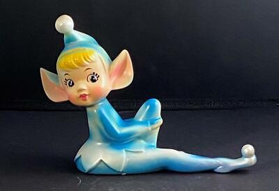 Vintage Reclining Pixie Elf Holding Knee Shelf Sitter Ceramic Large Ears DARLING