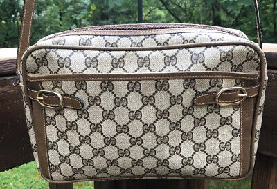 Vintage Gucci Ophidia Accessory Collection Signature GG Coated Canvas Brown Bag