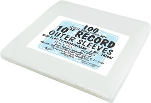 """(100) 10"""" Record EP Outer Sleeves Vinyl Outersleeves 3mil High Clarity #10SE03"""