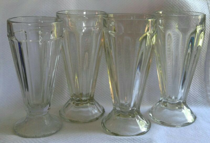 VIntage Soda Fountain Milkshake Glasses Set Of 4 Heavy Glass *EUC*