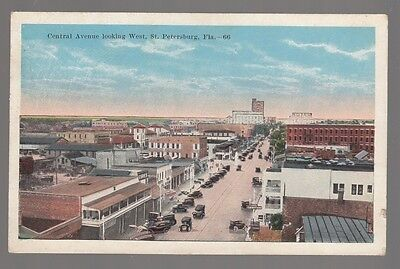 [49650] OLD POSTCARD EARLY AUTOMOBILES ON CENTRAL AVE., ST. PETERSBURG, FLORIDA