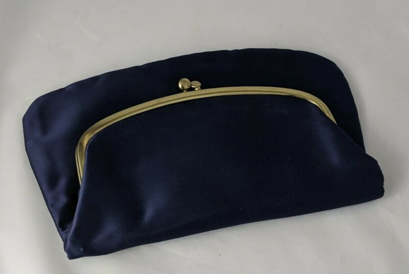 """Vintage HL USA 10"""" Folded Clam Clasp Purse with Attached Mini Coin Purse Inside"""