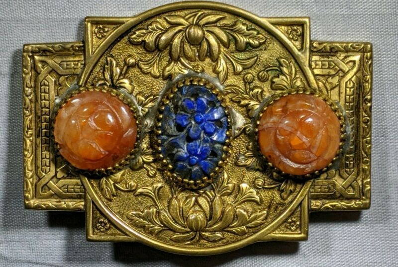 Rare Antique Chinese Metal Brooch with Agate and Lapis