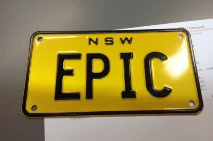 """Number Plate """"EPIC"""" NSW Motorcycle plate"""