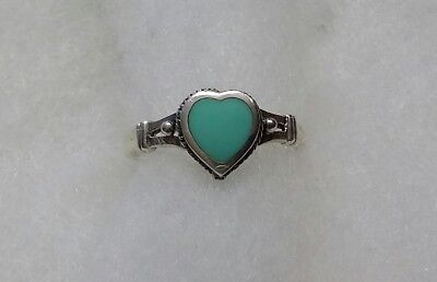 Green Turquoise Heart ring size 6
