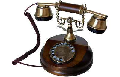 Opis 1921 Cable Retro Holz und Messing Telefon mit Wählscheibe und Metallklingel
