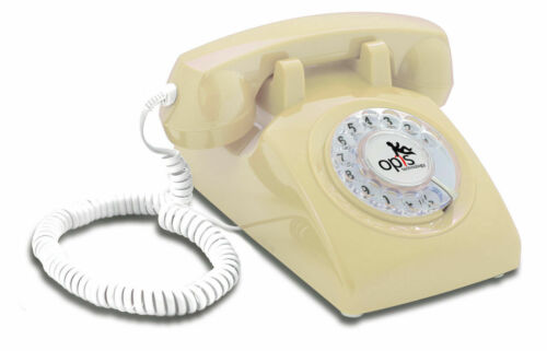 Opis 60s cable corded retro vintage rotary dial desk telephone phone in CREAM