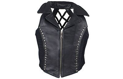 Studded Leather Halter Top with Collar Criss-Cross Back Zip Front XS - 4XL