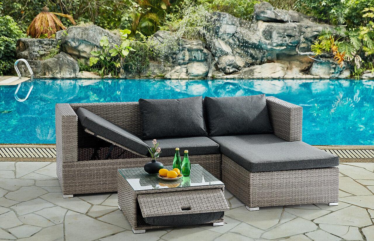 Garden Furniture - Grey Rattan Recliner Sofa Lounge Garden Set With Storage Outdoor Furniture Patio
