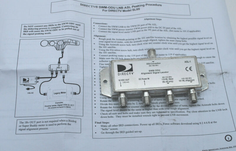 DIRECTV ASL-1 SWM Alignment Signal Locator Tool for ACCUTRAC DIGISAT SAT METER