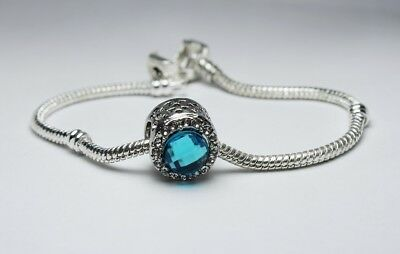 - Aquamarine Blue Topaz March December Birthstone Silver Charm - European Bracelet