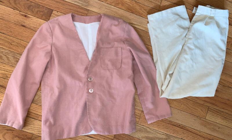 Vintage Boys Professional Handmade Lined Jacket Cream Pleated Pants Suit SZ 8-10