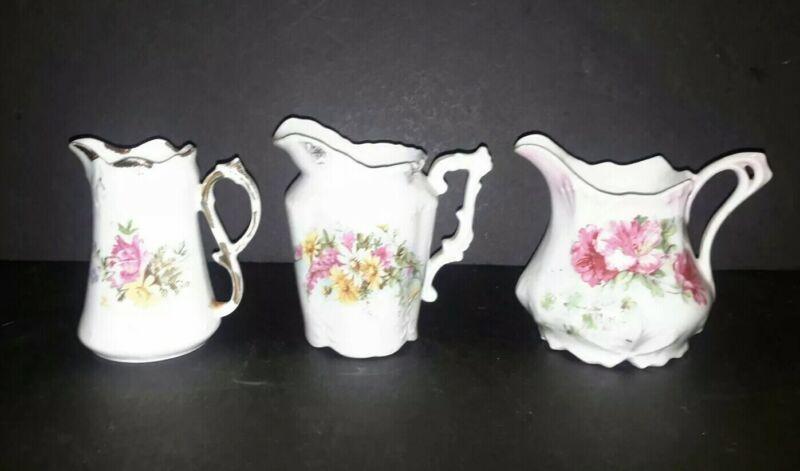 Lot of 3 Antique Porcelain Floral Victorian Creamer Pitcher Jugs #1
