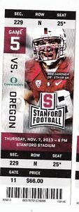 2013 STANFORD CARDINAL VS OREGON DUCKS FOOTBALL TICKET STUB 11/7/13 BEN GARDNER