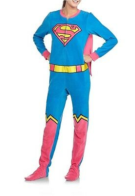 DC Comics Supergirl Footed Pajamas w Cape Costume Superman Footie NWT XL LASTONE
