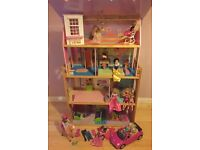 Barbie 4 storey dolls house with horse and car