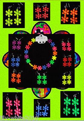 RETRO 60's 70's 80's Sixties Flower Power Earrings- Necklace -  Neon Fancy Dress