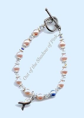 Breast Cancer Awareness Bracelet made with Swarovski Pearls and Crystals ()