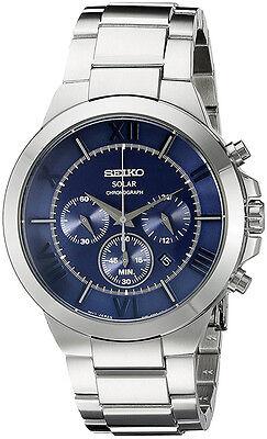Seiko Men's Recraft Solar Chronograph 100m Stainless Steel Watch SSC281