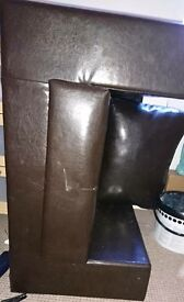 Brown leather arm chair IF NOT GONE BY THIS EVNING IT'S BEING PUT OF FOR COUNCIL TO TAKE
