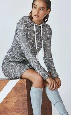 NWT Fabletics Yukon Sweater Dress Cozy Size Large $90 Black White Hoodie