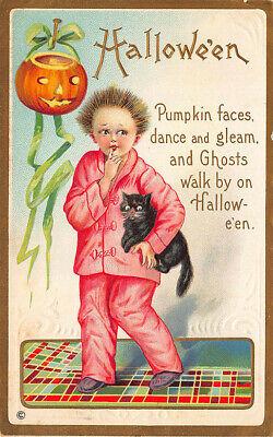 jama Clad Mädchen mit Schwarze Katze J-O-L Postkarte (Halloween Gedichte)