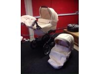 Cream leather travel system