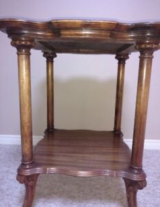 Tall brown antique wooden side table