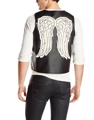Licensed AMC WALKING DEAD Daryl Dixon Faux Leather Vest With Bloody Wings Sz 2XL