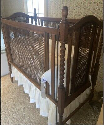 Antique Wrought Iron Baby Crib Bed Toddler Adjustable Side Rail Brown Perforated Vintage Spring Mattress Rare Springs Farmhouse Nursery