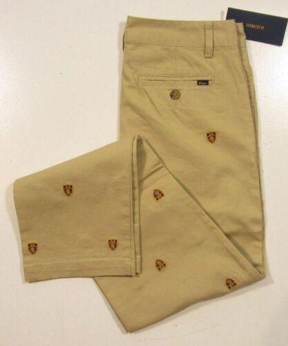 Polo Ralph Lauren Boys Beige Khaki Embroidered Shield Stretch Pants