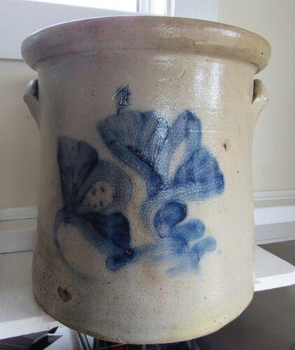 Stoneware 4 Gallon Crock - Cobalt Double Floral - C - 1880