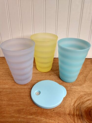 Tupperware Impression Tumblers Cups~16oz Seal Lid Straw-hole 3515