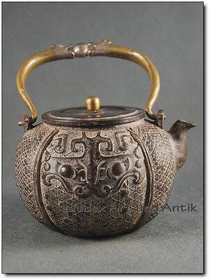 Schwere ZIER-TEEKANNE, Eisen oder Bronze?, China, Shang Drache Stil  [C26257]